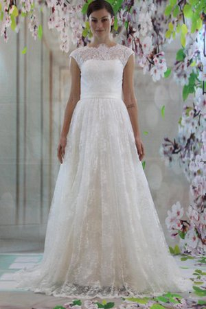 A-Line High Neck Short Sleeves Elegant & Luxurious Simple Wedding Dress