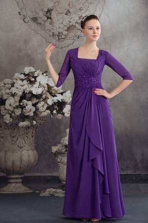 Floor Length Half Sleeves Square Chiffon Ruched Evening Dress