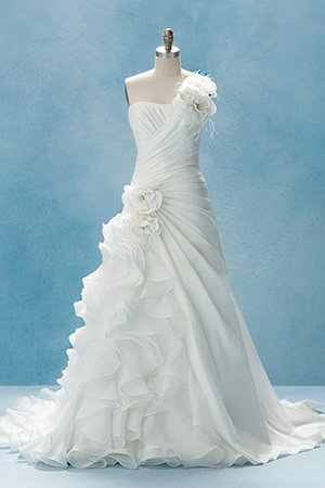 Misses Draped Floor Length Lace-up Sweep Train Wedding Dress