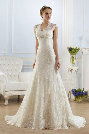Short Sleeves Floor Length Lace Fabric A-Line Wedding Dress