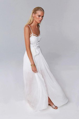 Split Front Floor Length Beach Chiffon Sleeveless Wedding Dress