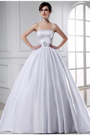 Chapel Train Ball Gown Satin Zipper Up Strapless Wedding Dress