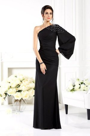 Floor Length Long Sleeves Beading Sheath Chiffon Mother Of The Bride Dress