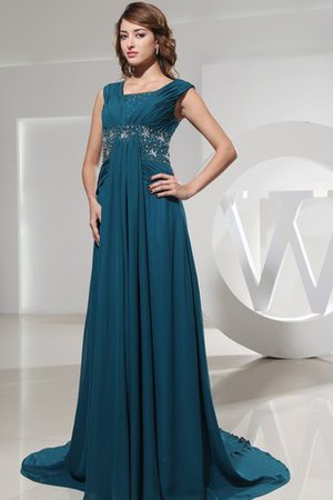 Pleated Beading Chiffon Ruched Floor Length Evening Dress
