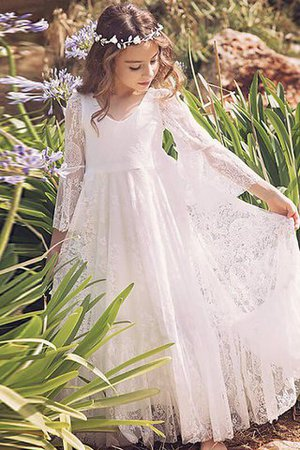 Natural Waist Long Sleeves Floor Length Lace Princess Flower Girl Dress