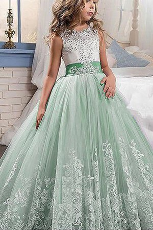Jewel Tulle Sleeveless Lace Floor Length Flower Girl Dress