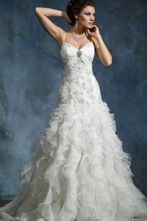 Long Sleeveless Beading Organza Spaghetti Straps Wedding Dress