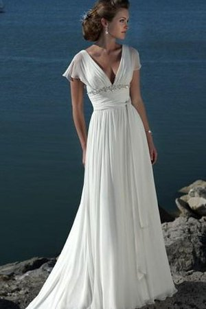 Capped Sleeves Short Sleeves Hourglass Deep V-Neck Wedding Dress