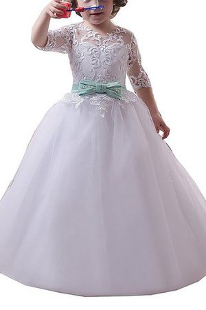 Tulle Natural Waist Half Sleeves Ball Gown Floor Length Flower Girl Dress