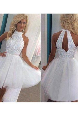 a872e109c2e A-Line Halter Beading Sleeveless Natural Waist Prom Dress