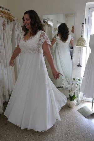 Capped Sleeves Floor Length Lace V-Neck Beach Wedding Dress