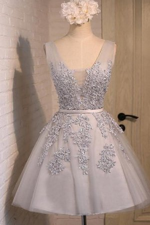 A-Line V-Neck Lace Beading Appliques Homecoming Dress
