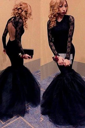 Floor Length Natural Waist Long Sleeves Scoop Tulle Prom Dress