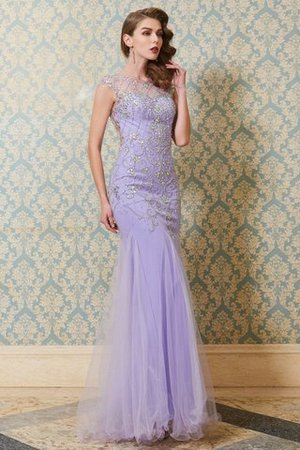 Tulle Scoop Beading Mermaid Floor Length Evening Dress