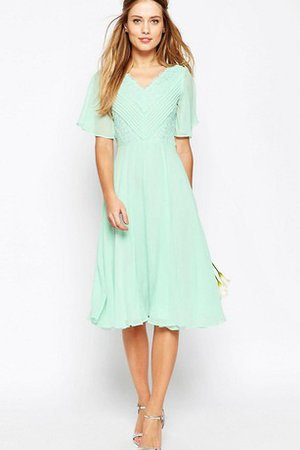 Pleated V-Neck Simple Tea Length Ruched Bridesmaid Dress