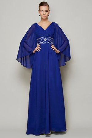 Zipper Up A-Line Floor Length Chiffon Long Sleeves Evening Dress