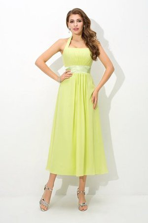 Natural Waist Draped Princess Halter Bridesmaid Dress