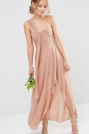 High Low Ruched Simple Zipper Up Elegant & Luxurious Bridesmaid Dress