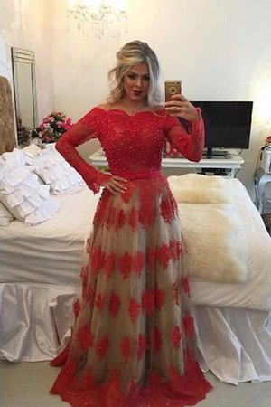 Chic & Modern A-Line Lace Off The Shoulder Tulle Evening Dress