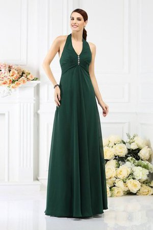 A-Line Zipper Up Halter Floor Length Long Bridesmaid Dress