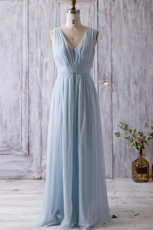 Pleated Backless V-Neck Ruched Floor Length Bridesmaid Dress