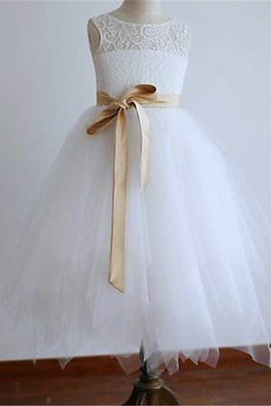 Scoop Tulle Sashes Flowers Floor Length Flower Girl Dress
