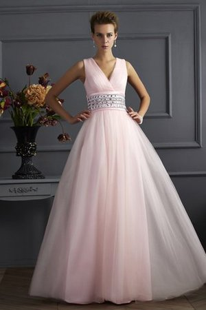 Empire Waist Long Beading Sleeveless Ball Gown Evening Dress