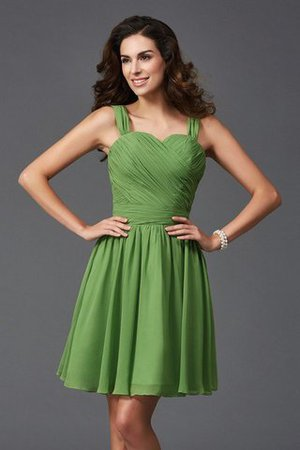 A-Line Silk Like Satin Wide Straps Natural Waist Short Bridesmaid Dress