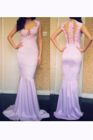 Mermaid Sweep Train Natural Waist Keyhole Back Appliques Prom Dress