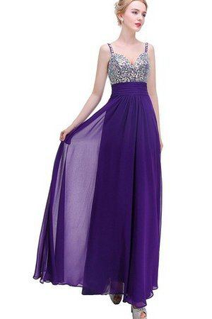 Beading Sleeveless Natural Waist Floor Length Sequined Prom Dress