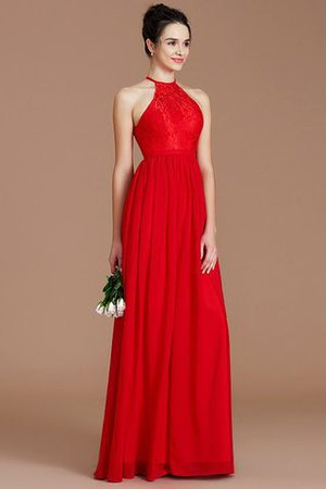 Princess Lace Zipper Up Natural Waist Floor Length Bridesmaid Dress
