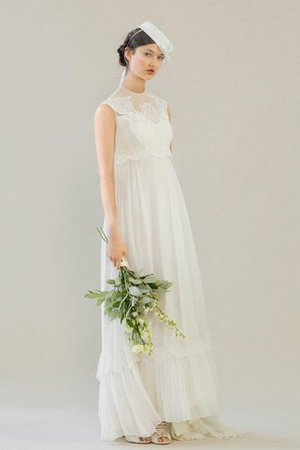 Vintage Appliques Sweep Train A-Line Chiffon Wedding Dress