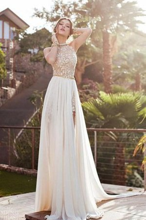 Halter Elegant & Luxurious Sweep Train Lace Backless Evening Dress