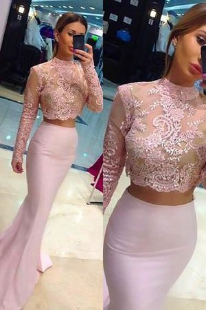 A-Line Long Sleeves High Neck Satin Prom Dress