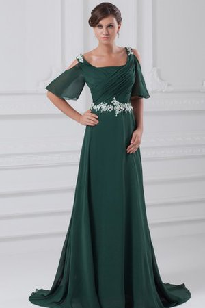Square Sequined Ruched Chiffon Short Sleeves Evening Dress