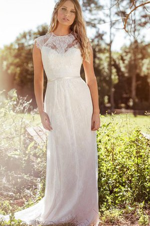 Scoop Appliques Floor Length Short Sleeves Wedding Dress