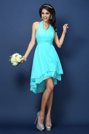 Zipper Up Princess Chiffon Pleated Short Bridesmaid Dress