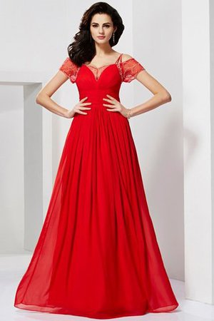A-Line Beading Short Sleeves Zipper Up Chiffon Evening Dress