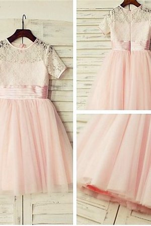 Natural Waist Floor Length Flowers Short Sleeves Zipper Up Flower Girl Dress
