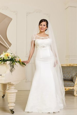 Satin Short Sleeves Mermaid Natural Waist Court Train Wedding Dress