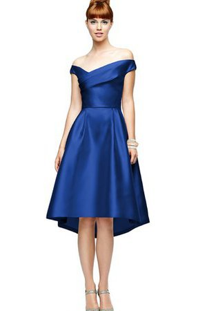 A-Line Off The Shoulder Knee Length Sleeveless Satin Bridesmaid Dress