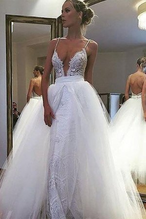 Tulle A-Line Natural Waist Lace Wedding Dress