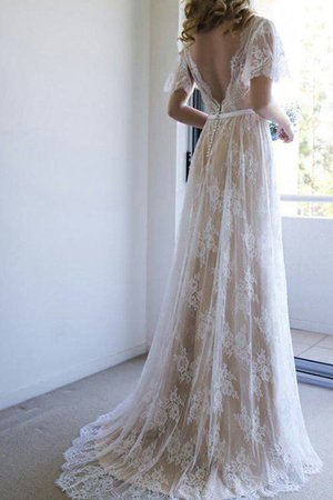 Winsome Button Zipper Up Sweep Train Elegant & Luxurious Lace Fabric Wedding Dress
