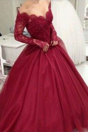 Long Sleeves Ball Gown Natural Waist V-Neck Tulle Lace Lovely Prom Dress