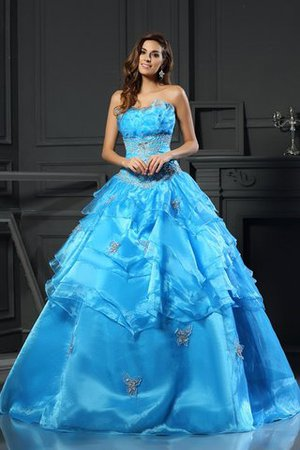 Sweetheart Lace-up Organza Beading Natural Waist Quinceanera Dress