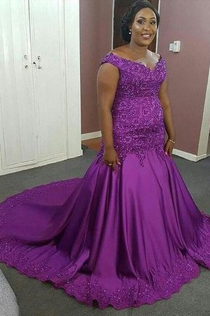 Sleeveless Beading Plus Size Natural Waist V-Neck Prom Dress