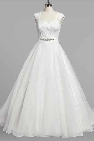 A-Line Beading Ruched Capped Sleeves Short Sleeves Wedding Dress