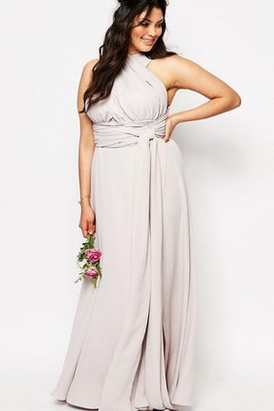 Ruched Chiffon Floor Length A-Line Sleeveless Bridesmaid Dress