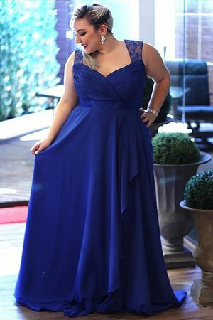 Sleeveless Zipper Up Plus Size Sweep Train V-Neck Evening Dress