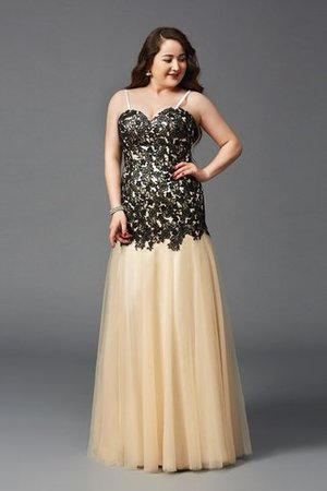Plus Size Zipper Up Floor Length Natural Waist Spaghetti Straps Prom Dress